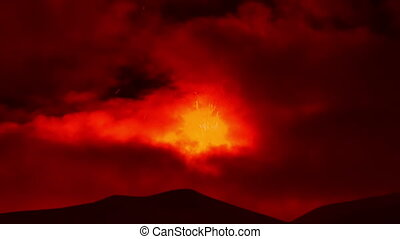 Etna Eruption at night. Sicily, Italy. Time Laps