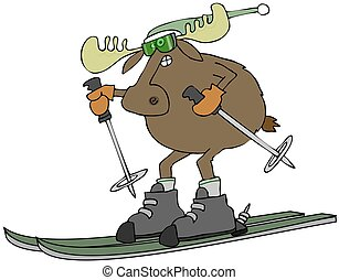 Moose on skis - This illustration depicts a bull moose...