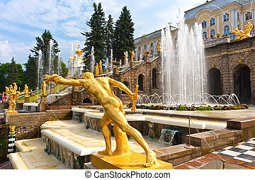 Peterhof - Fountains in Petrodvorets Peterhof, Saint...