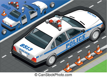 Isometric Police Car in Rear View - Detailed illustration of...