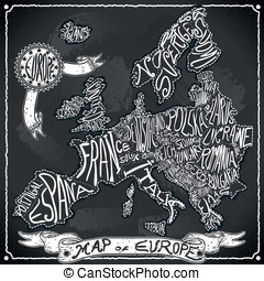 Europe Map on Vintage Handwriting BlackBoard