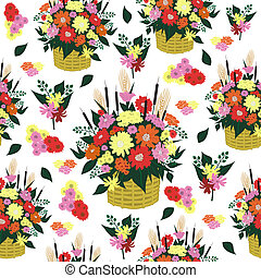 Seamless background with basket of flowers