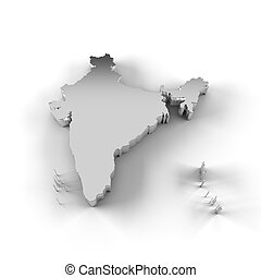 India map 3D silver - High resolution India map in 3D in...