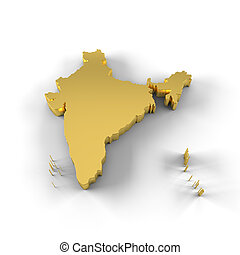 India map 3D gold - High resolution India map in 3D in gold...