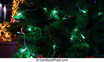Christmas tree green light moving - Christmas tree with...