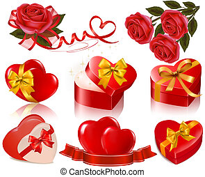 Set of Valentine's day elements. Vector illustration