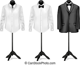 Black suit and white shirt with butterfly on mannequins....