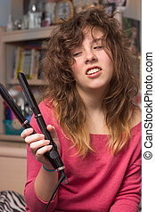 Bad Hair Day - Girl with fizzy hair and flat iron