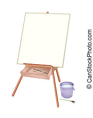 A Wooden Artist Easel with Brushes and Bucket