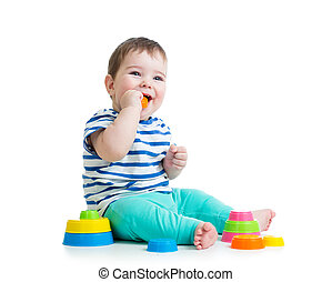 child playing with colorful toy isolated on white