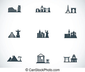 Vector black landmarks icons set on white background