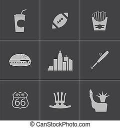 Vector black USA icons set