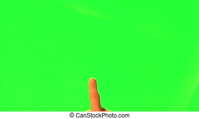 12 touchscreen gestures - male hand - green screen