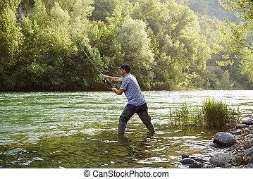 pescador, ficar, Rio, segurando, pesca, vara