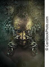 man with mask Baroque knocker door
