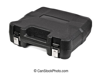 Black plastic tool box isolate white background