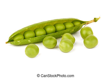 green pea - Fresh green pea pod on white background