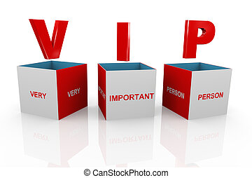 3d box of vip - very important person - 3d illustration of...