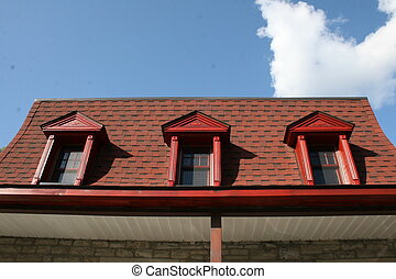 Old red mansard roof - Old french canadian home mansard roof...