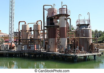 old petrochemical industrial plant