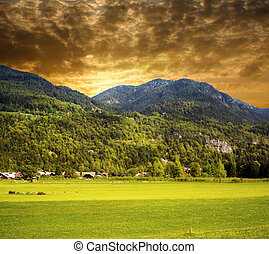 Beautiful sunset in the mountains landscape