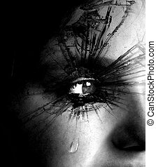 Girl Crying with Tear and Textured Eyelashes - Closeup of...