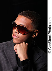 Handsome High Fashion Black Male Wearing Sunglasses