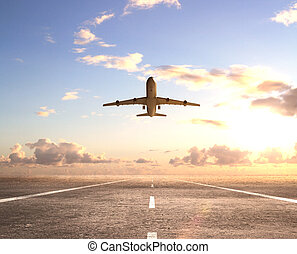 airplane on runway and looking at airplane in blue sky