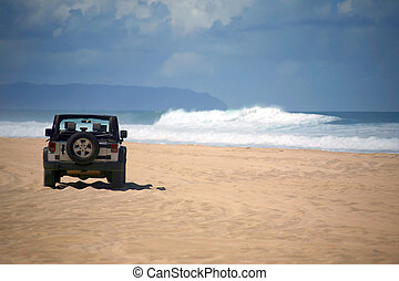 Offroad Vehicle on a Remote Beach in Hawaii - Offroad...