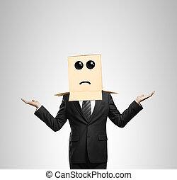 man choosing - men choosing with box in head