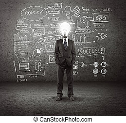 bulb headed man and business plan concept on wall