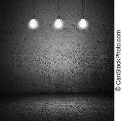 room with lightbulbs - dark room with three lightbulbs