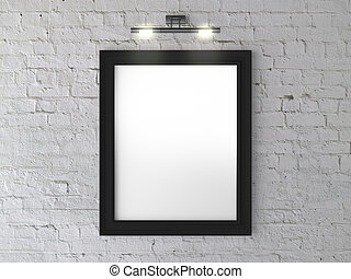 black frame on wall with wall lamp