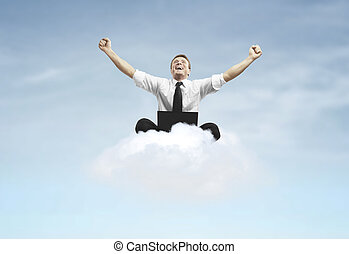 happines businessman sitting on cloud
