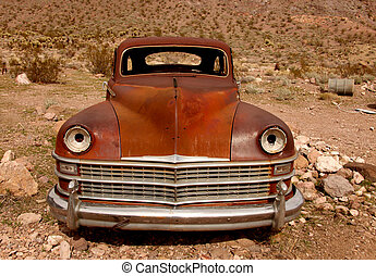 Sad Rusted Out Used Up Vintage Vehicle Left in the Desert to...