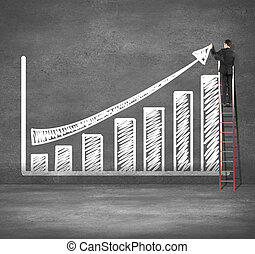 man drawing chart - man climbing on ladder drawing busines...