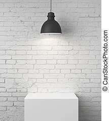 room with podium - white brick room with podium and lamp