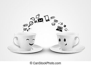 social two cups - happy cups social media concept. isolated