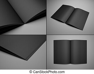 set black booklet - 3d render set black booklet