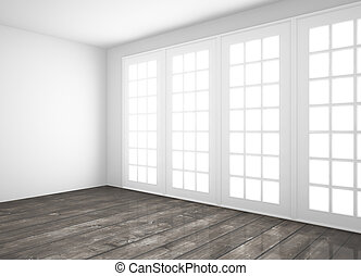 room with window - white room with big window and wood floor