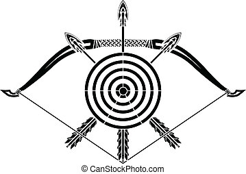 bow and arrows. stencil