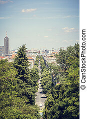 berlin avenue in summer, shoot from Kreuzberg.