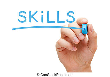 Skills Blue Marker - Hand writing Skills with blue marker on...
