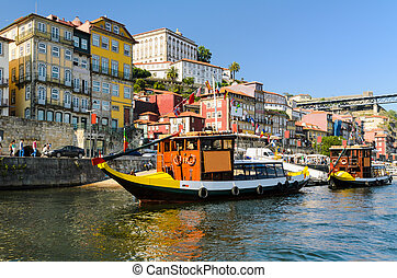 Boats in Porto, Portugal - Boats on the Douro river in...