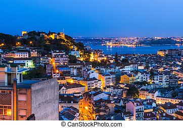 Lisbon old town at night, Portugal - A view of the Alfama...