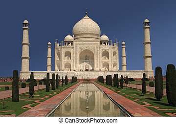 Taj Mahal - A view of the Taj Mahal in Agra, India.