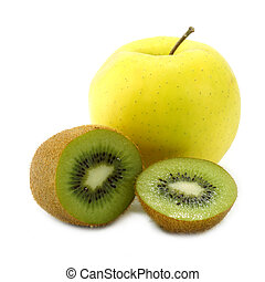 kiwi fruit and yellow apple isolated on white background