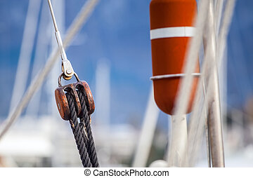 Running rigging gear ship tackles - Running rigging gear and...