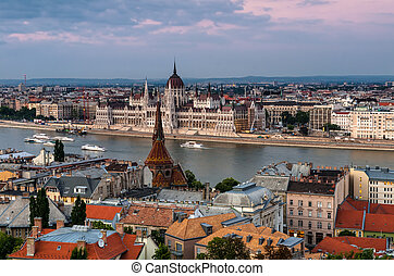 Budapest cityscape and Danube River, Hungary - Budapest,...