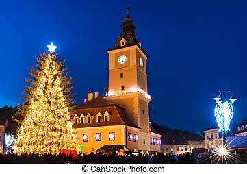 Brasov historical center in Christmas days, Romania -...
